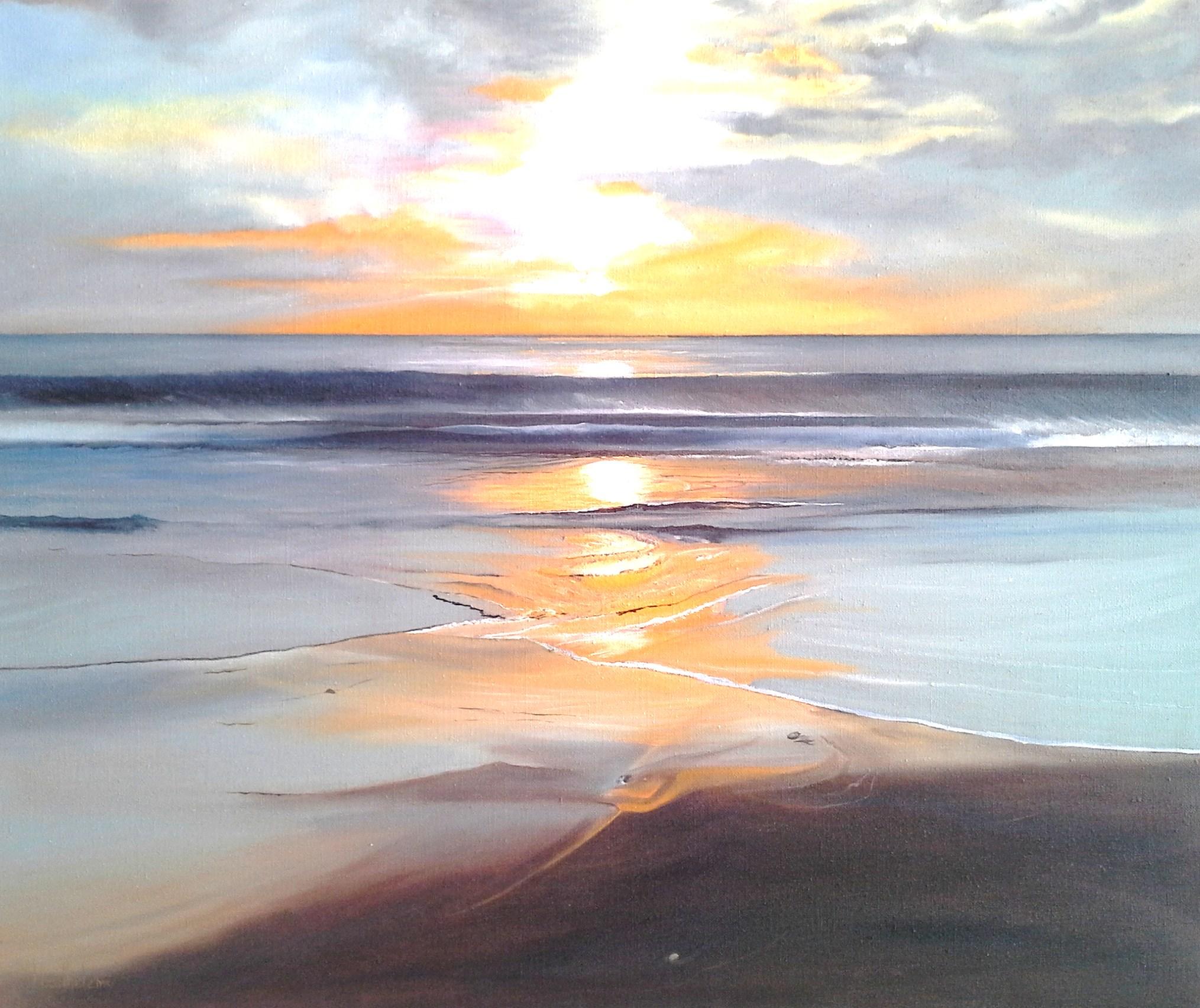 Coucher de soleil en fev sur la plage