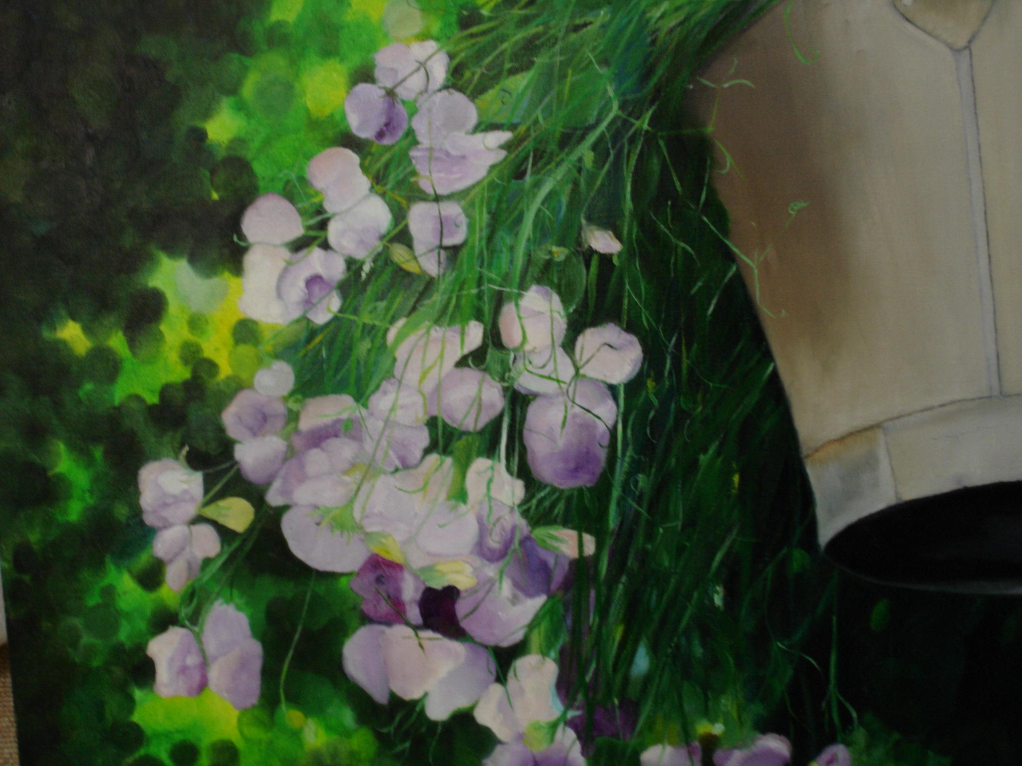Seau aux fleurs tombantes