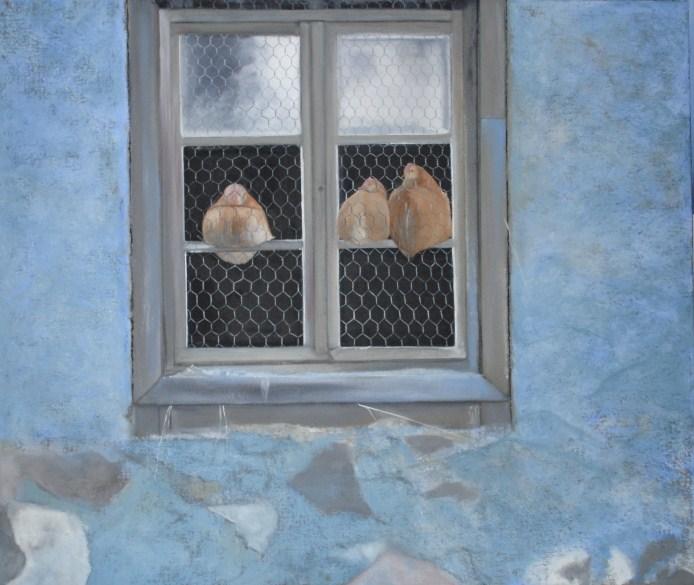poules naines au poulailler